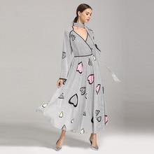 Muslim Dress Abayas Dubai kaftan islamic dress Women Fashion Love Print High End Bow Vintage Long-Sleeved Jumpsuit Z0415