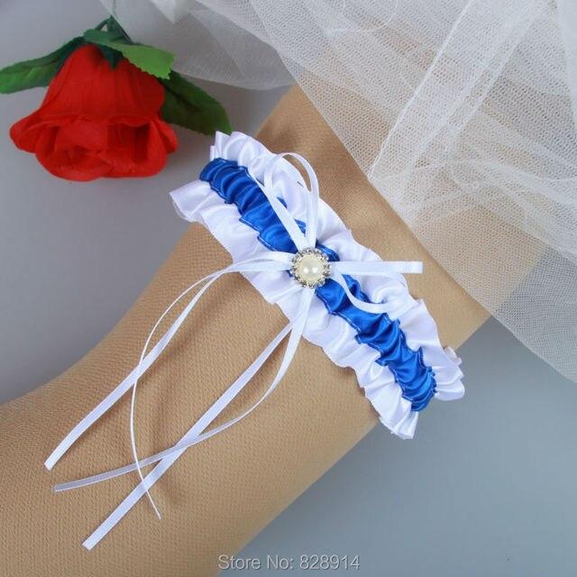 75e89ecf720 Original Design Blue Ribbon Wedding Garter Belt With Imitation Pearl Bead  Bridal Leg Garter Belt Handmade HY049