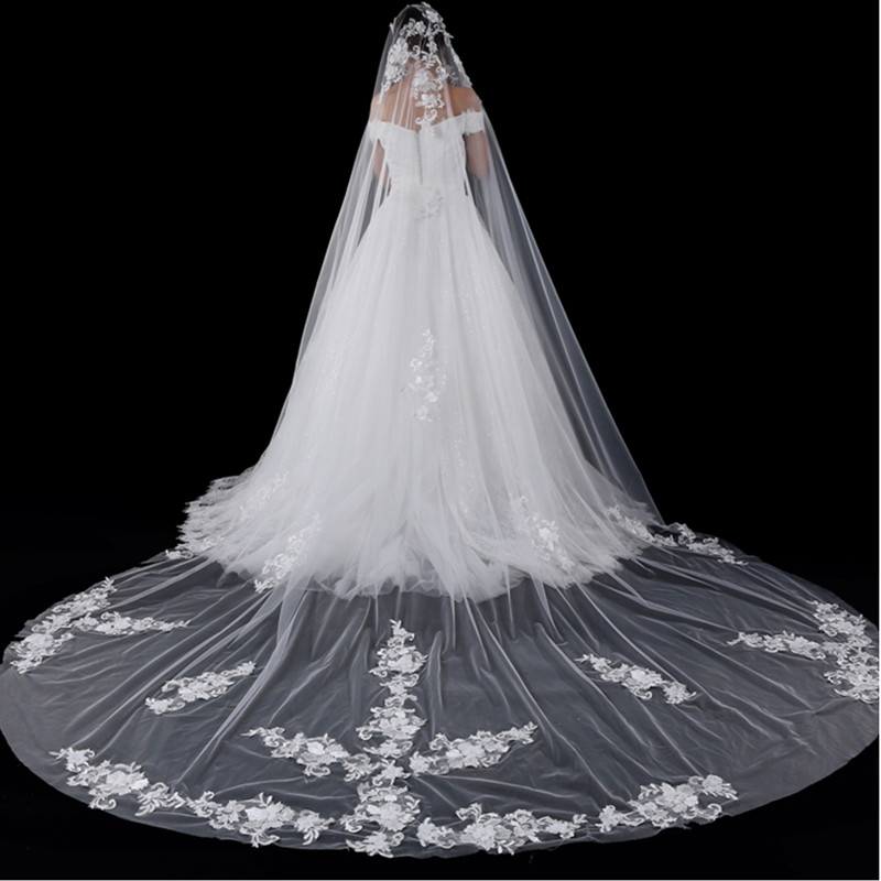 LAN TING BRIDE 3.5M Flower Style Accessories Lace Applique Edge Lace European Oversized Bridal Princess Wedding Veil