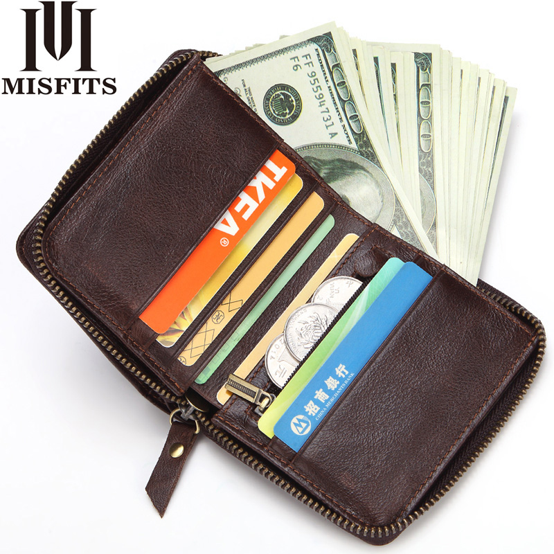 MISFITS Genuine Leather Wallet Men Vintage 100% Cowhide Leather Wallet Zip Coin Pocket Portomonee Male Short Purse Card Holder