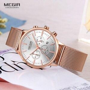 Image 5 - MEGIR pulsera de malla de acero inoxidable para mujer, relojes de cuarzo, cronógrafo, 24 horas, indicador de fecha, reloj de pulsera analógico para mujer 2011L