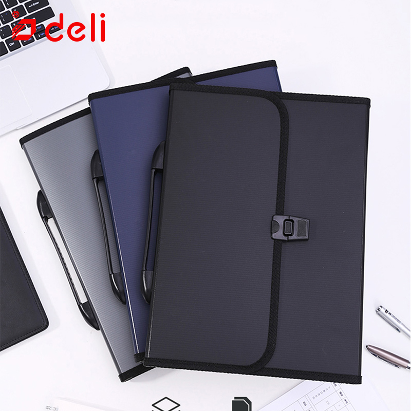 Deli Classical A4 Bag File Folder For Documents Stationery Organizers Bag Business Briefcase Filing Storage Bag School Suppliers