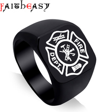 Faitheasy Men's Ring Stainless Steel Punk Rock Ring Fire Dept. Party Jewelry USA Size