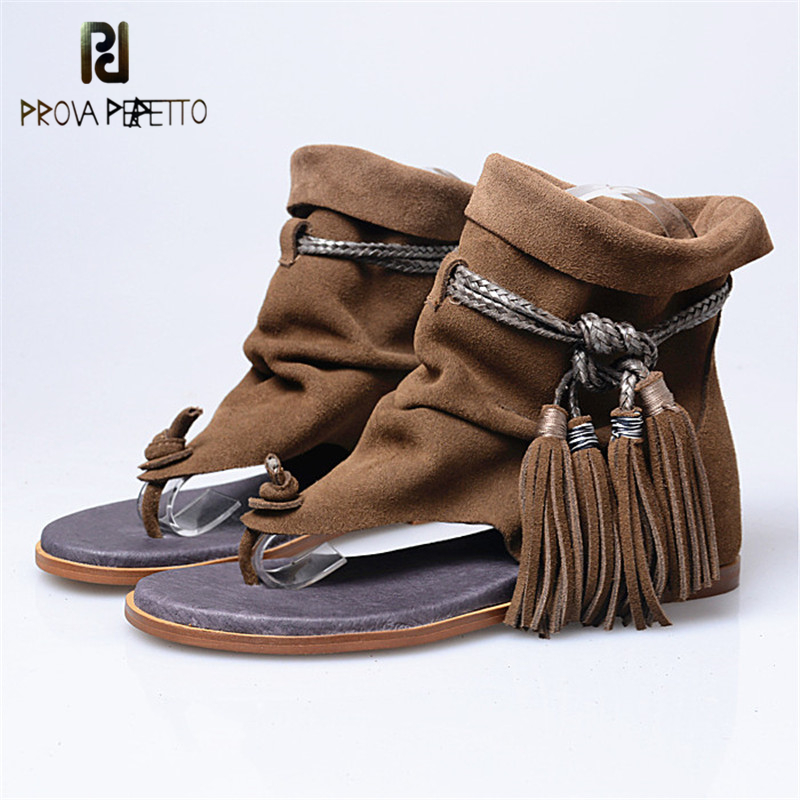 Prova Perfetto Gladiator Height Increased Hide Flip Flops Sandals Shoes Casual Suede Leather Lace-Up Tassels Flat Beach Shoes