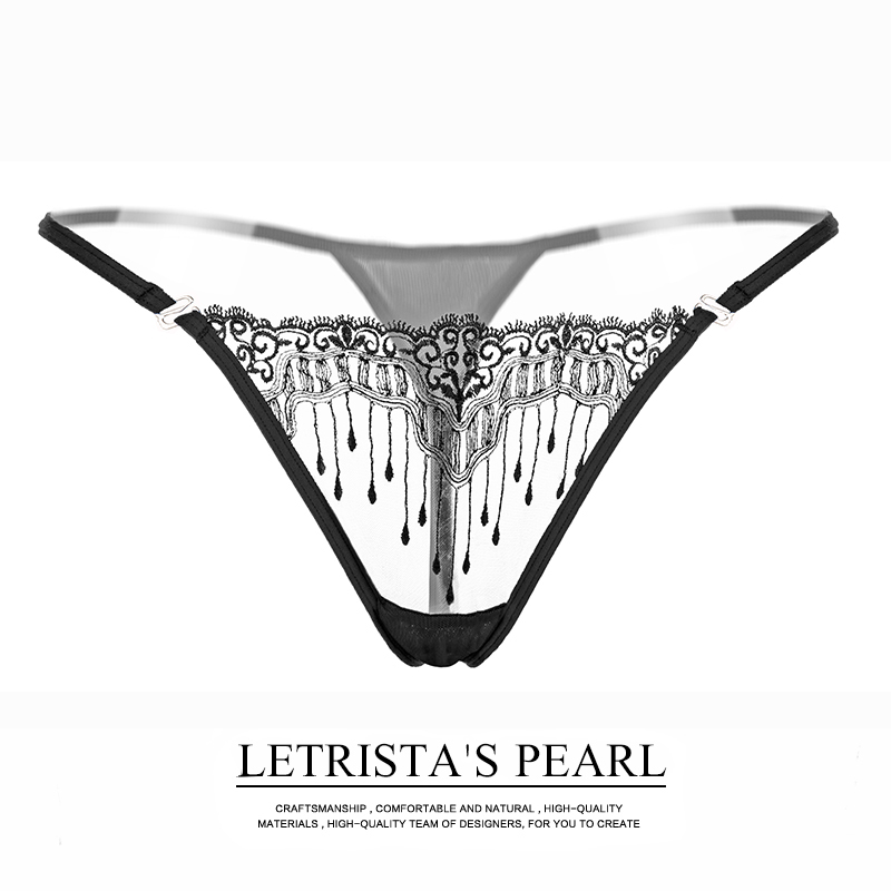 Hot ! Sexy Lady   Panties   Thong Embroidery Transparent G String Sexy Women Underwear Seamless Sexy   Panty   Female Underpants T-back