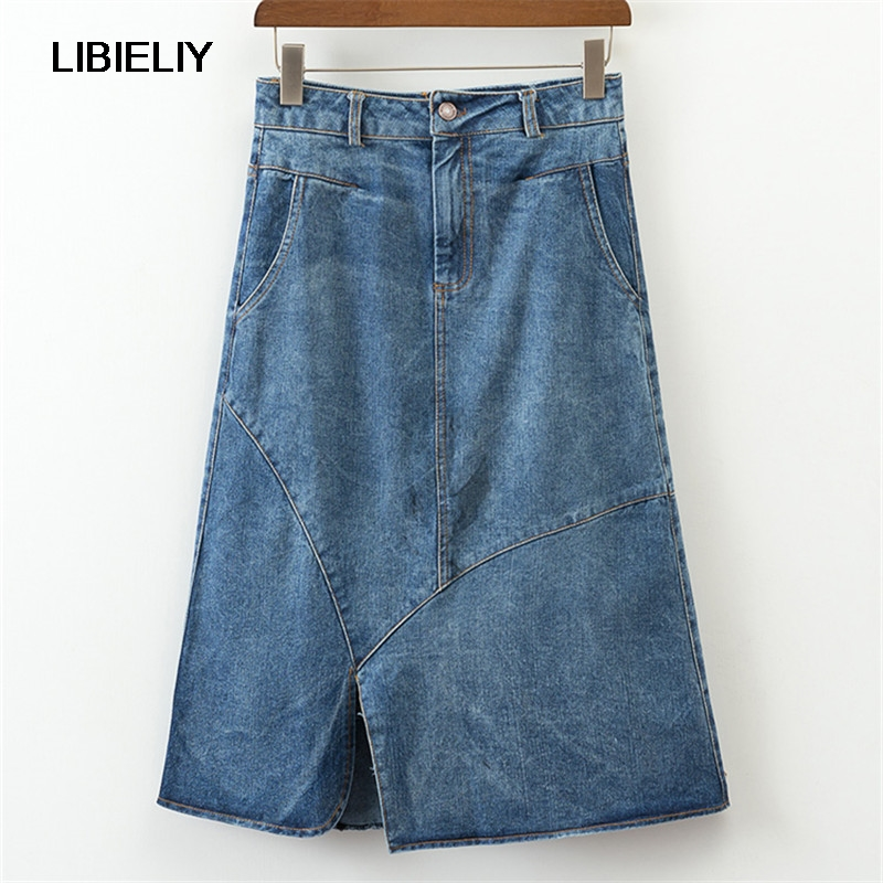 Asymmetrical Patchwork Denim Skirts Women Nice Summer Fashion A line Pocket Skirt Woman Casual Clothing Female Ladies