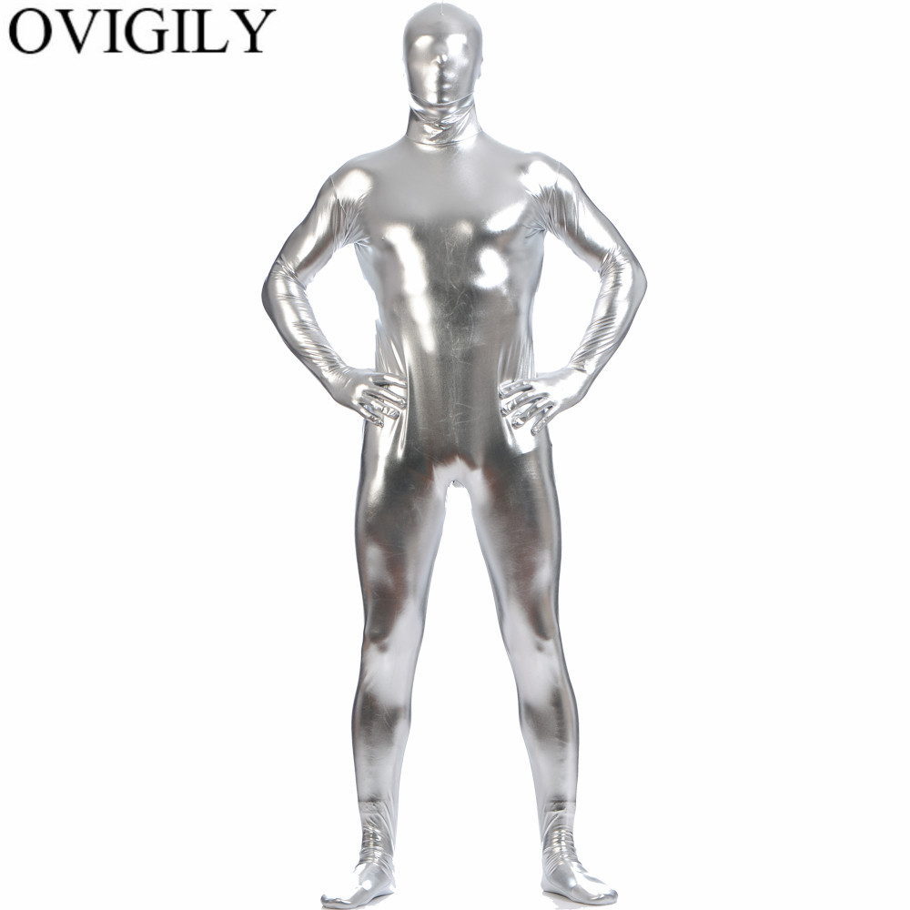 OVIGILY Men's Shiny Metallic Zentai Full Body Suit Adults Silver Spandex Skin Tights One Piece Bodysuits Zentai Costume For Boys