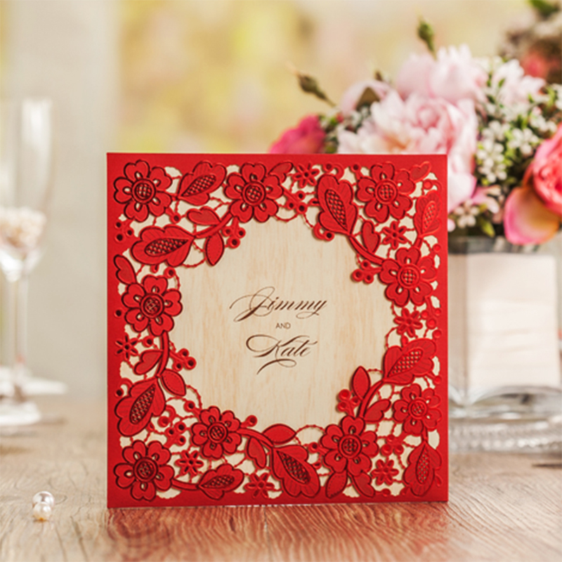 Square Type Vintage Laser Cut Lace Flower Red Wedding Invitations Kit Printing Blank Paper Invitation Cards Set Send Envelope square design white laser cut invitations kit blanl paper printing wedding invitation card set send envelope casamento convite