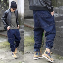 Hip Hop Harem Dei Jeans Denim dei Pantaloni del Mens Moda Jeans di Marca Larghi Allentati Streetwear Nero Pantaloni Blu Degli Uomini Più I Vestiti di Formato 30 46