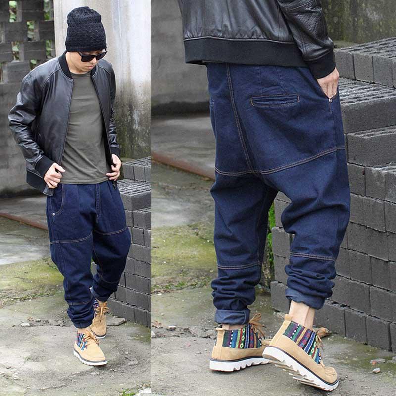 Hip Hop Harem   Jeans   Denim Pants Mens Fashions   Jeans   Brand Loose Baggy Streetwear Black Blue Trousers Men Clothes Plus Size 30-46