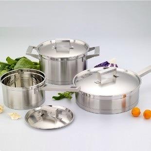Livraison gratuite ss #304 acier inoxydable 3 pots batterie de cuisine set casseroles et casseroles ustensiles de cuisine de haute qualité