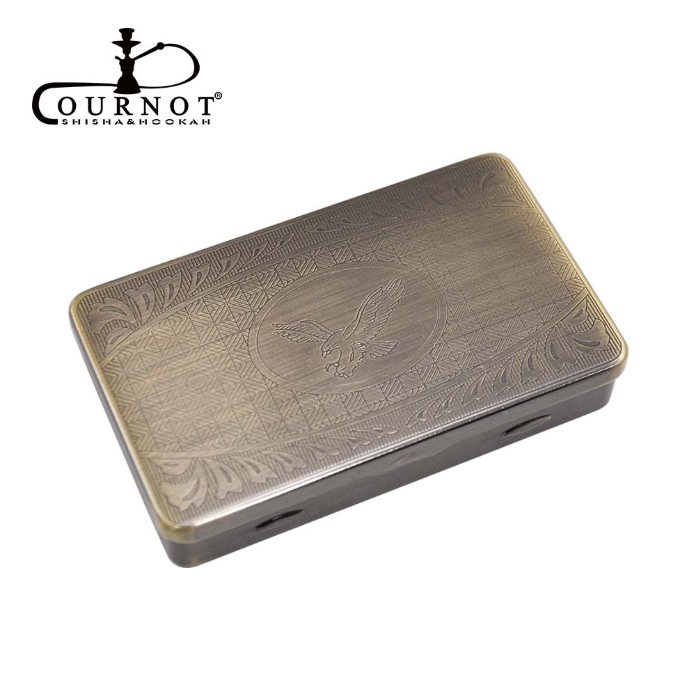 COURNOT Metal Tobacco Box Pocket Size 95*57mm Cigarette Case With 70MM Paper Holder Inside Silver/Copper Color.Pattern Random