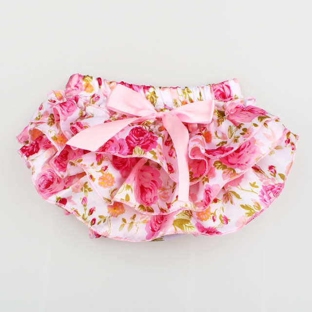 Baby Satin Flower Printed PP skirt Pant Girls Ruffle