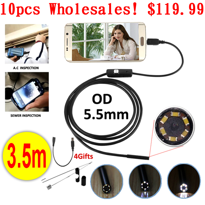 Antscope Wholesale 10pcs Endoskop 5.5mm Micro USB Android Endoscope Camera 3.5M Pipe Inspection OTG USB Android Phone Borescope 7mm lens mini usb android endoscope camera waterproof snake tube 2m inspection micro usb borescope android phone endoskop camera