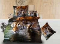 BEST.WENS wholesale New fashion duvet set double bedsheet Microfiber Fabric Home textile Quality western lion Tiger Dropshipping