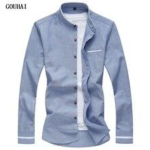 2018 New Long Sleeve Men Shirts Social Stand Collar M-7XL Plus Size Mens Dress Shirts Soli Shirts Men Casual Clothing Men