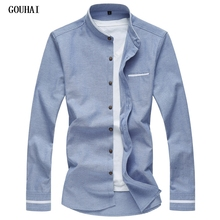 2019 New Long Sleeve Men Shirts Social Stand Collar M-7XL Plus Size Mens Dress Shirts Soli Shirts Men Casual Clothing Men