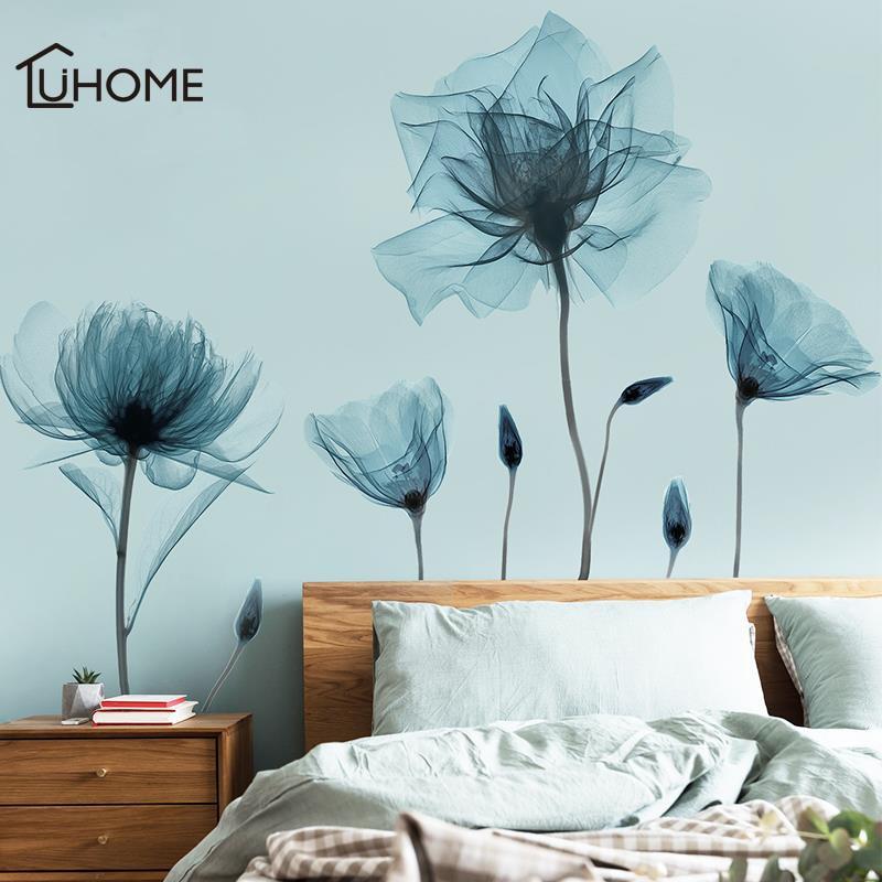 Pegatina de pared de flores abstractas Vintage papel tapiz de flores azules pegatina extraíble para pared para decoración de sala de estar dormitorio 6 LEDs PIR Sensor de movimiento luz de noche Auto On/Off para dormitorio escaleras armario inalámbrico USB recargable lámpara de pared