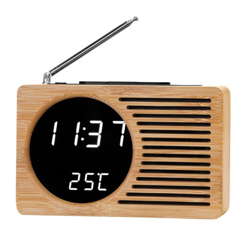 2019 Nouvelle Table FM Radio Alarme Horloge Numérique Alarme De Chevet Horloges De Bureau Numérique Bambou Wecker LED Affichage De Contrôle Du Son
