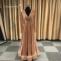 Leeymon 2018 New Arrival Long Sleeves Glitter Elegant Sexy V Neck Evening Dress Floor Length Custom Made Dress
