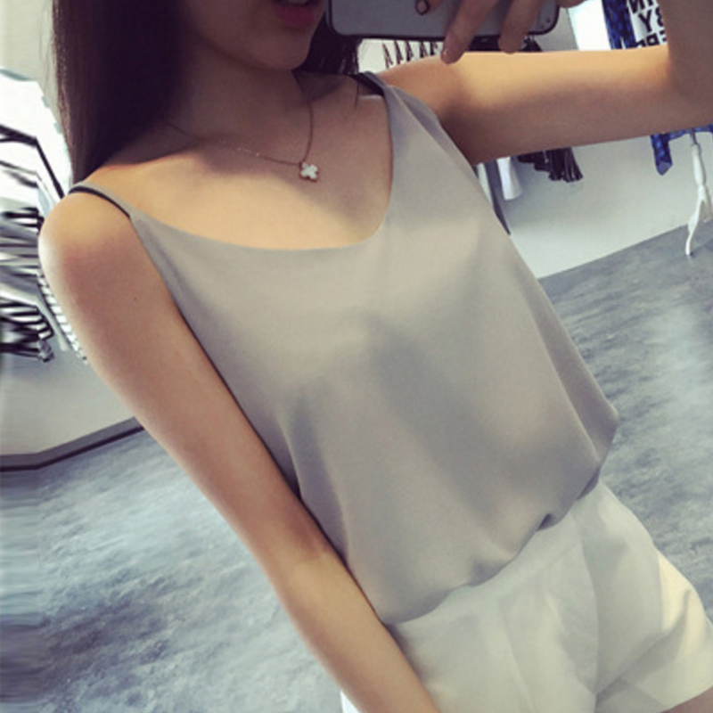 2018 Fashion Chiffon   Tank     Top   Women Summer Loose   top   Ladies spaghetti strap Sleeveless V Neck Shirt   top   Female Camisole Black