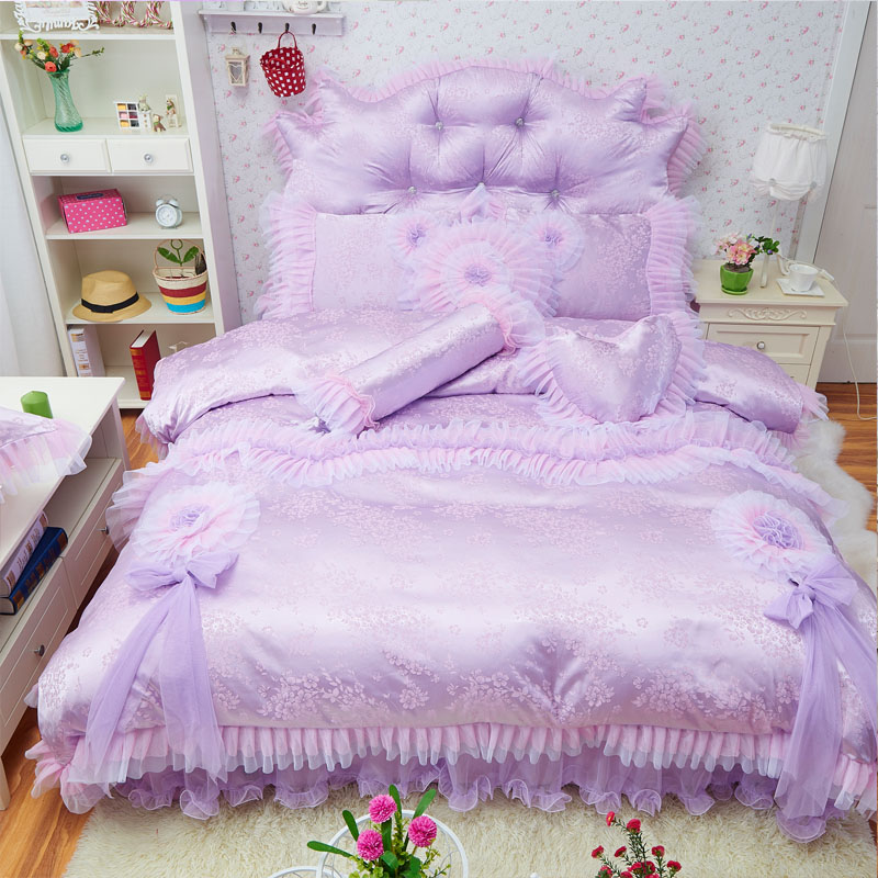 Luxury Princess Bedding Set  Twin Queen King Purple Red Pink Cotton Silk Wedding Bed Set Bedskirt Duvet Cover Decoration Pillows