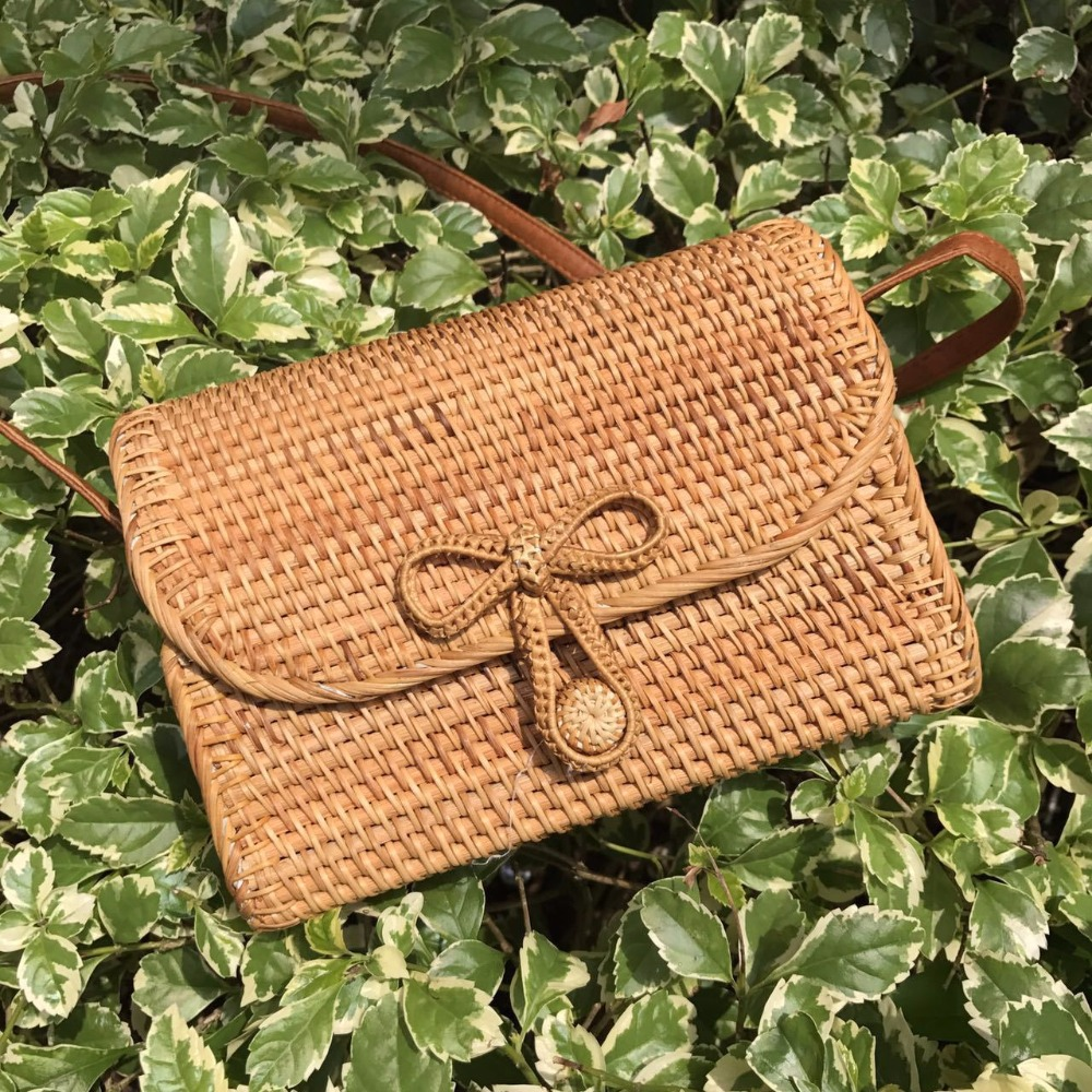 Female Handbag New Fashion Bali Small Square Bag Bohemia Women Hand Woven Straw Bags Summer Rattan Bag Retro Beach Crossbody Bag mu pa500b ww