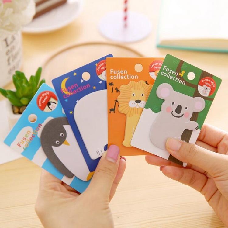 Kawaii Cartoon Koala Lion Polar Bear Penguin Stickers Memo Pads Lovely Sticker For Diary Decoration Student Supplies