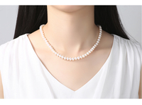 Паг и маг бренд 7-8 мм природные пресной воды жемчужное ожерелье один ожерелье для женщин высокого яркость жемчуг бисером чокер оптовая продажа