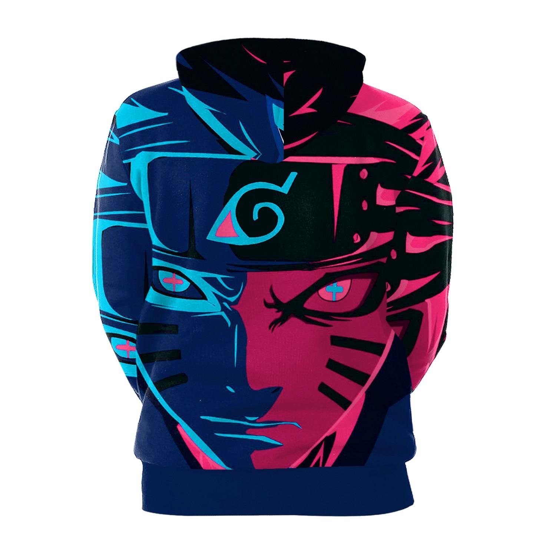 Naruto 3D Print Hoodies with Hat Men Round Neck Loose Sweatshirt Pullover Sudaderas Para Hombre Streetwear Winter Clothes
