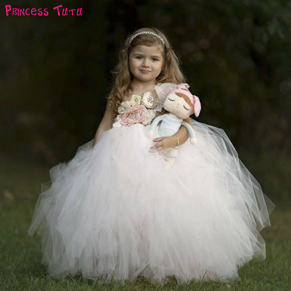 Blush Champagne Wedding Bridesmaid Tutu Dress One Shoulder Princess Flower Girl Birthday Party Tulle Dress Long Frock Dresses недорго, оригинальная цена