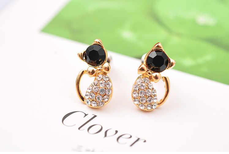 Хит продаж, модные серьги/модные украшения/Золотая брошь сережки кошки, милые серьги-гвоздики для женщин, подарок для девочек