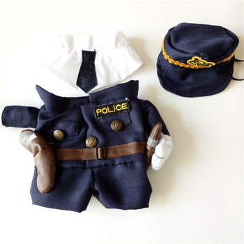 Gomaomi Pet Costume Policeman Style Dog Jeans Clothes Cat Funny