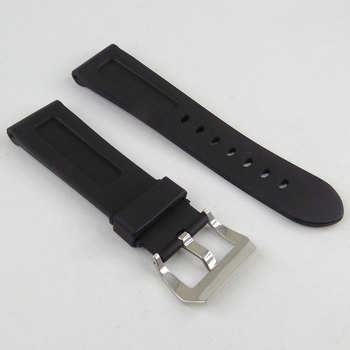 Rubber Watch Band Strap pin Buckle 24mm Polished Metal Clasp Watch Accessories