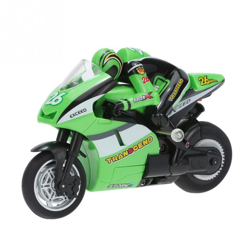 HOT Mini RC Motorcycle Create Toys Super Cool Toy 8012 1/20 2.4 GHz Radio Controlled Stunt Car For Children Gift Red / Green