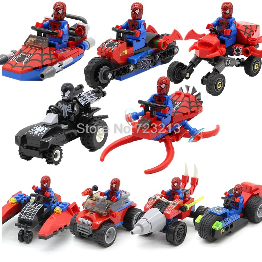Single Spider Man Figure Motorcycle Venom Scanes Spiderman Marvel Super Hero Model Building Blocks Set Bricks Toys