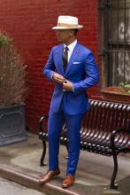 Custom Made Classic Royal Blue Groom Tuxedos Slim Fit Best Man Suit 2016 Vintage Wedding Prom Men Suits ( jacket+Pants+tie)
