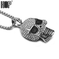 HIP Hop Rock Silver Plated Pave CZ Skeleton Head Skull Pendants Necklaces For Men Jewelry