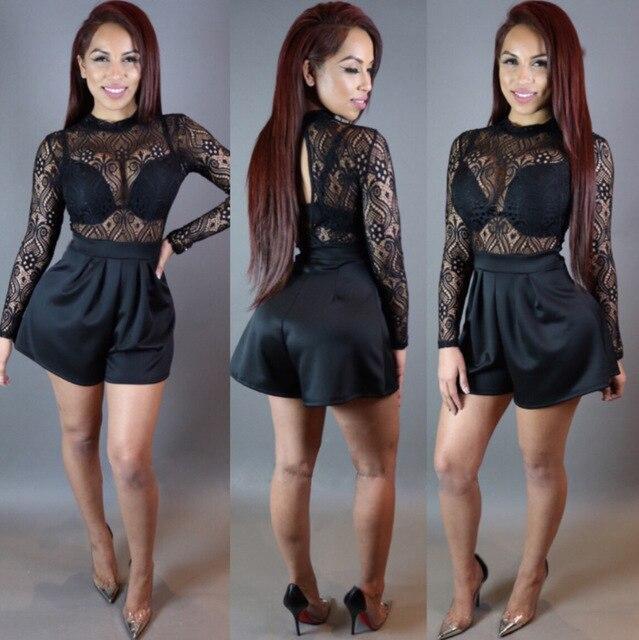 e58675d4f194 New style women sexy jumpsuit lace elegant rompers women jumpsuit summer shorts  women lace clothing N231