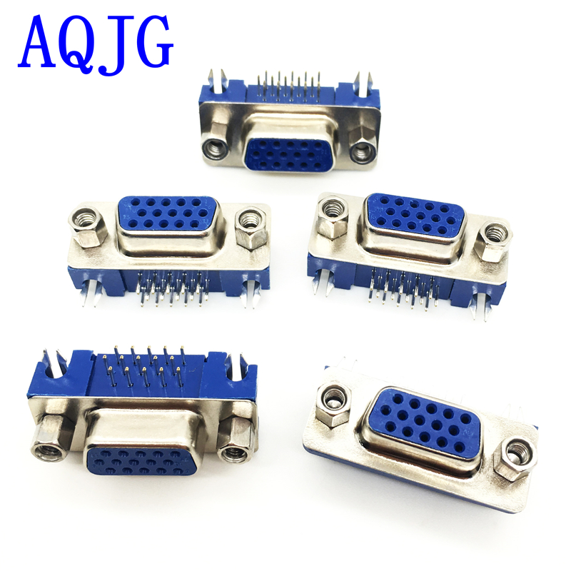 50pcs <font><b>DB15</b></font> DR15 3Rows Blue Parallel Port 15 Pin <font><b>D</b></font> <font><b>Sub</b></font> Female 15 Way PCB 90 Degree Connector <font><b>DB15</b></font> Socket Plug VGA Adapter image