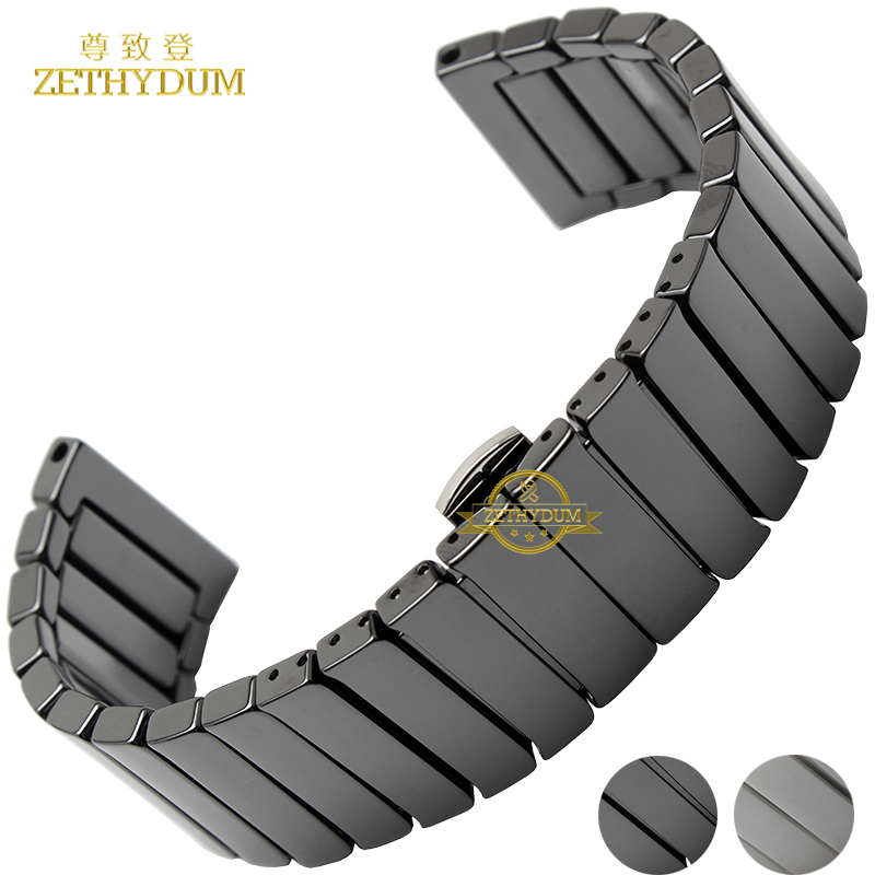 Ceramic watch strap bracelet watchband 22mm 24mm wristwatches band white black Butterfly buckle watch belt accessories not fade for samsung gear s2 classic black white ceramic bracelet quality watchband 20mm butterfly clasp