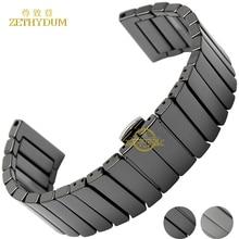 Ceramic watch strap bracelet watchband 22mm 24mm wristwatches band white black Butterfly buckle watch belt accessories