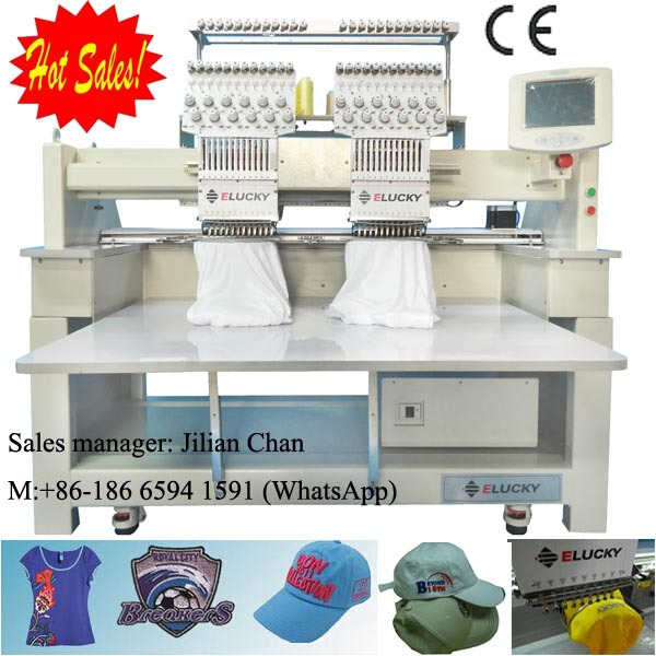 38e7f40fa3f Elucky Computerized Embroidery Machine 2 heads embroidery machine price for T  Shirt Flat Garments and Cap Embroidery (EG1202C)-in Embroidery Machines  from ...