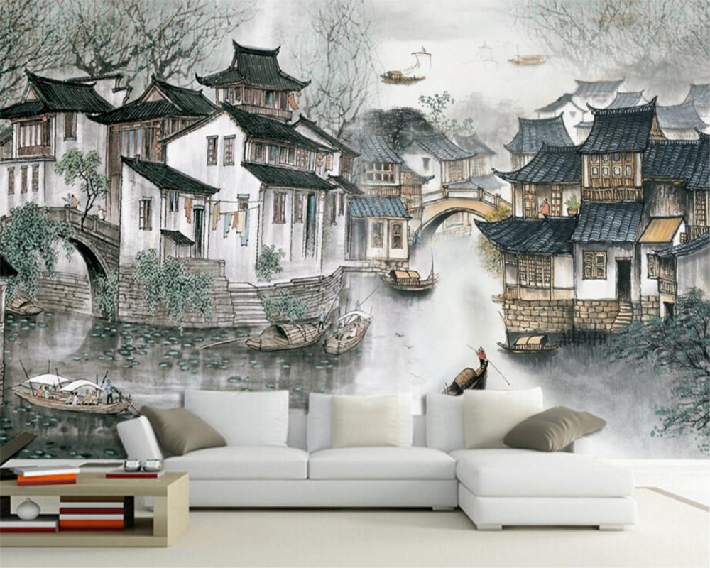 us $9.9 34% off|beibehang living room bedroom home decoration murals  wallpaper jiangnan water village chinese tv sofa background 3d wallpaper-in