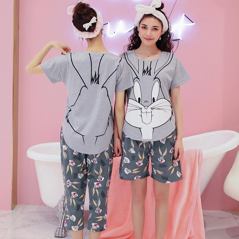 b50112c12446 Women Bugs Bunny cartton Sleepwear girls rabbit Pajama set Ladies S Sleeve  Cotton Cute Nightgown Purple Pyjamas Bottoms set