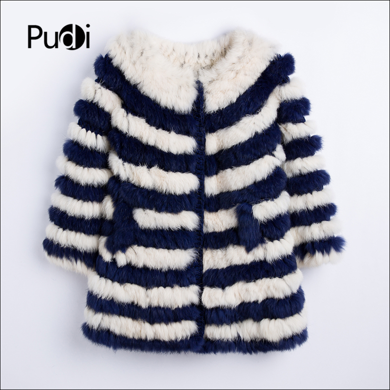 Pudi women Real rabbit fur coat jacket 2019 new girl genuine fur knit outwear shawl overcoats
