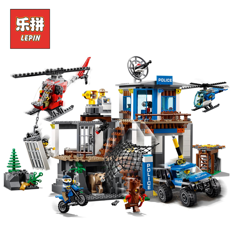 Lepin 02097 City Series the Mountain Police Headquarters Set Legoinglys Building Blocks Bricks 60174 Toys Model for Kids Gift lepin 02006 815pcs city series police sea prison island model building blocks bricks toys for children gift 60130