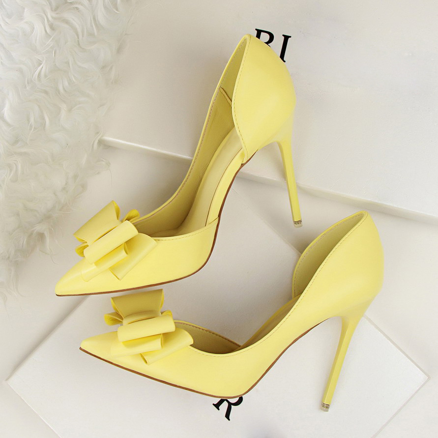 2018 Women 10cm High Heels Pumps Female Elegant Butterfly knot Stiletto Shoes Pointed Toe Fetish Pink Blue Yellow Scarpins Heels elegant women s round toe pumps with stiletto and suede design