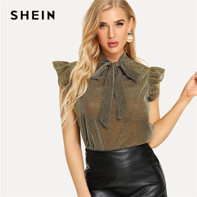 be085e6f6c2936 SHEIN Yellow Tie Neck Ruffle Armhole Glitter Top Elegant Party Cap Sleeve  Stand Collar Blouse Women Summer Fashion Blouses