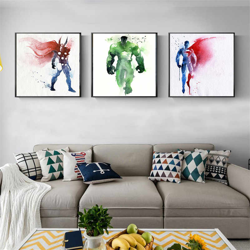 Watercolor Superhero Avenger Captain America Movie Poster Print Hulk  Wall Art Picture Home Deco Canvas Painting